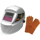 "ASTRO PNEUMATIC 8075SEN Deluxe Solar Auto-Darkening Welding Helmet & 13.5"" Leather Welding Gloves"