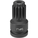 "GREY PNEUMATIC 4011A 1"" Female x #5 Spline Male Adapter with Lock Button"