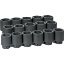 "GREY PNEUMATIC 9016D 16 Pc. 1"" Dr. Deep Length SAE Set"