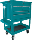 K TOOL INT'L 75142 Tool Service Utility Cart - 4 Drawer Heavy Duty Teal