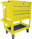 K TOOL INTERNATIONAL 75143 Tool Service Utility Cart - 4 Drawer Heavy Duty Yellow