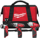 "MILWAUKEE ELEC. 2491-23 M12 Combo Kit: 3/8"" Impact/Hex Driver/ Worklight"