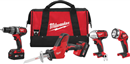 MILWAUKEE ELEC. 2695-24 M18™ Lithium-Ion 4 Tool Combo Kit