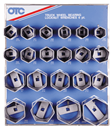 OTC TOOLS 9850 6 Pt. Wheel Bearing Locknut Sockets with Tool Board