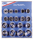 OTC TOOLS 9851 8 Pt. Wheel Bearing Locknut Sockets with Tool Board
