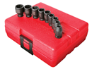 "SUNEX TOOLS 1809 1/4"" Dr. Standard Impact Socket Set, 9 Pc. Metric"