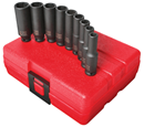 "SUNEX TOOLS 1812 1/4"" Dr. Deep Impact Socket Set, 9 Pc. Metric"