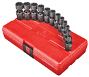 "SUNEX TOOLS 1814 1/4"" Dr. Universal Impact Socket Set, 12 Pc. Metric"