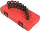 "SUNEX TOOLS 1825 1/4"" Dr. 12 Pt. Magnetic Universal Impact Socket Set, 11 Pc. Metric"