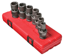 "SUNEX TOOLS 2655 1/2"" Dr. Universal Impact Socket Set, 7 Pc. Metric"