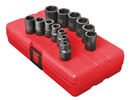 "SUNEX TOOLS 3358 3/8"" Dr. Standard Impact Socket Set, 13 Pc. Metric"