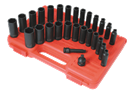"SUNEX TOOLS 3360DD 3/8"" Dr. Master Deep Impact Socket Set, 28 Pc. SAE & Metric"