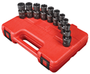 "SUNEX TOOLS 3657 3/8"" Dr. Universal Impact Socket Set, 10 Pc. Metric"