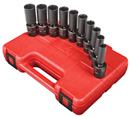 "SUNEX TOOLS 3660 3/8"" Dr. Deep Universal Impact Socket Set, 10 Pc. Metric"