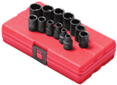 "SUNEX TOOLS 3675 3/8"" Dr. Standard 12 Pt. Impact Socket Set, 13 Pc. Metric"