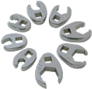 "SUNEX TOOLS 9708 Flare Nut Crowfoot Wrench Set, 3/8"" Dr., 8 Pc. SAE"