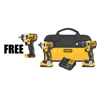 DEWALT DCK283XP 20V MAX* XR Lithium-Ion Brushless Compact Drill/Driver & Impact Driver Combo Kit