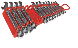 ERNST 5188 15 Pc. Reverse Gripper Wrench Rack -- Red