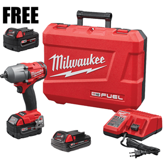 "MILWAUKEE ELEC. 2861-22CXB M18 FUEL™ 1/2"" Mid-Torque Impact Wrench with Friction Ring Kit"