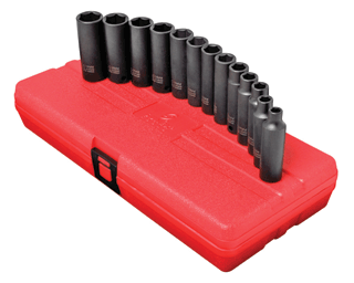 "SUNEX TOOLS 3359 3/8"" Dr. Deep Impact Socket Set, 13 Pc. Metric"